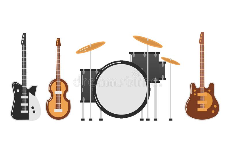 The Beatles band topics. November 19.2017 . Editorial illustration of the Beatles band s musical instruments on white background. World Beatles Day on January 16