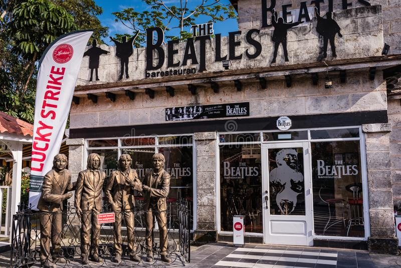 Beatles Bar Restaurant. Varadero, Cuba / March 17, 2016: The Beatles` Bar-Restaurant is a popular place for live rock band performances in the beach town stock photos