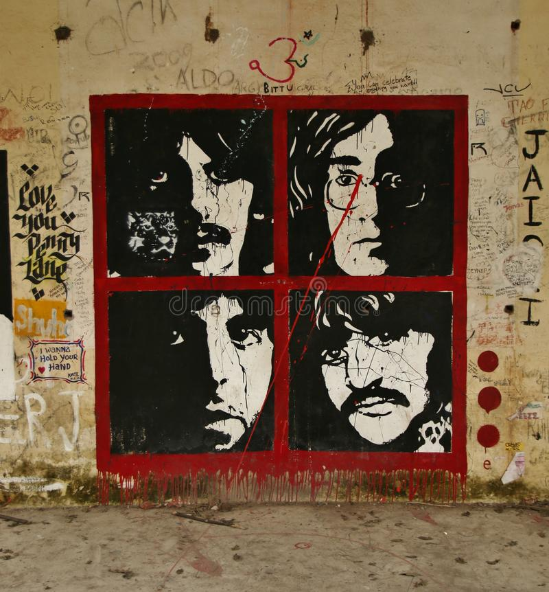 The Beatles on graffiti royalty free stock images