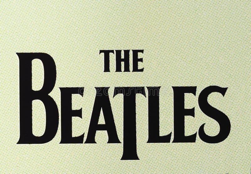The Beatles logo. LONDON, UK - CIRCA APRIL 2016: Logo of British band The Beatles printed on a cd royalty free stock image