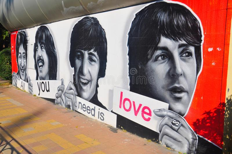 Beatles painting on a wall. In city of Sochi, Russia royalty free stock image