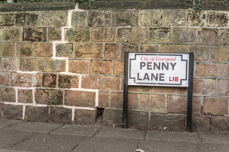 Beatles` Penny Lane famouse landmark. And street signal stock image