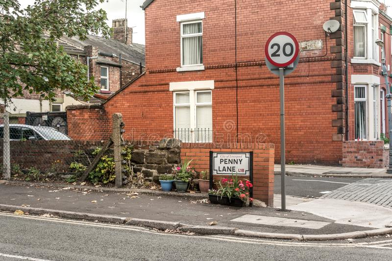Beatles` Penny Lane famouse landmark. And street signal royalty free stock photography