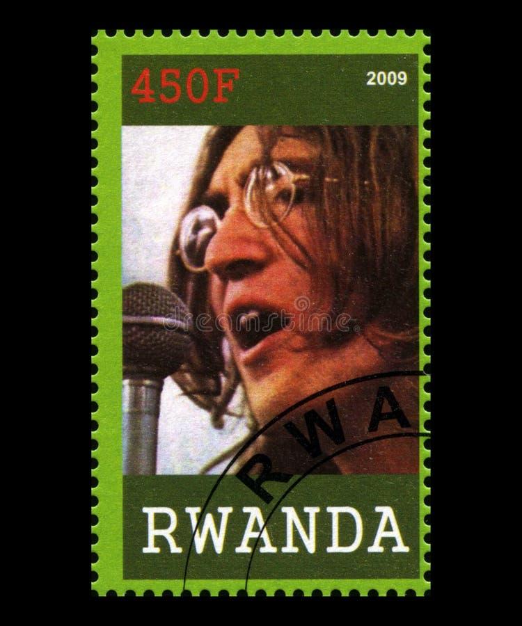 Beatles portostämpel från Rwanda royaltyfria foton