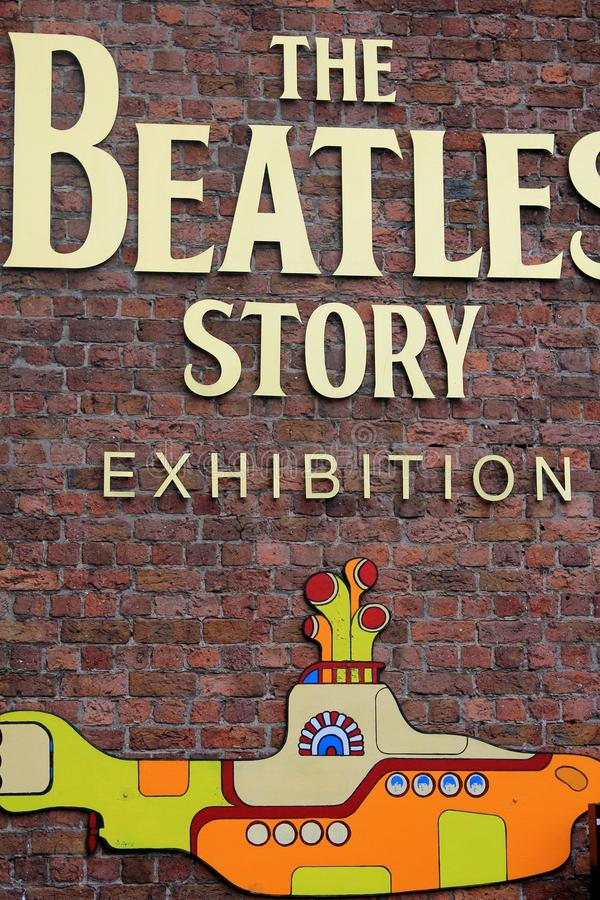 The Beatles Story Exhibition in Liverpool, in the UK. The information at the front door of the exhibition. The Beatles were an English rock band, formed in stock images