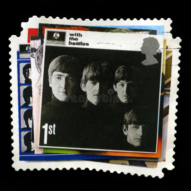 Beatles UK Postage Stamp. UNITED KINGDOM - CIRCA 2007: A British 1st class postage stamp celebrating the albums of `The Beatles`, circa 2007 royalty free stock image
