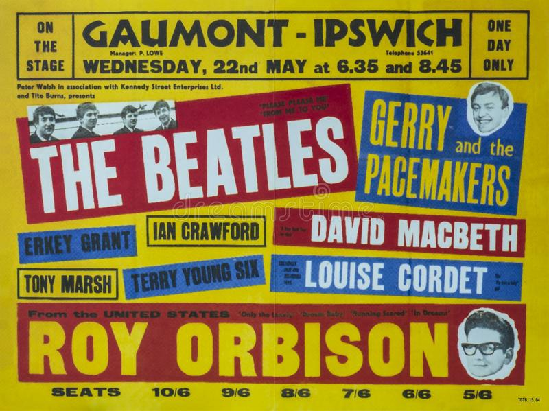 The Beatles vintage advertisement. The Beatles were an English rock band formed in Liverpool in 1960. Photo taken in a Beatles book. Poster for The Beatles at stock image