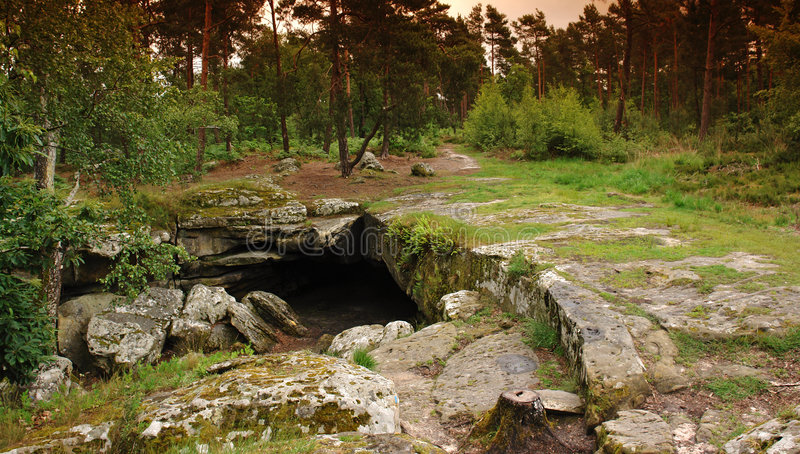 Beatrix cave in fontainebleau forest stock photos