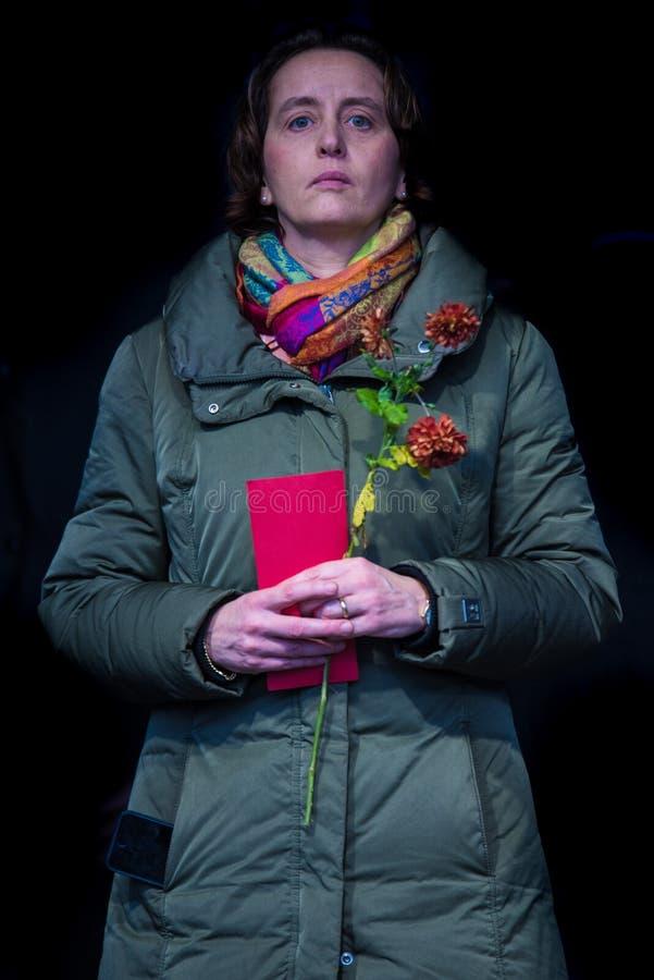Beatrix von Storch à une démo d'AfD en 2015 à Berlin images stock