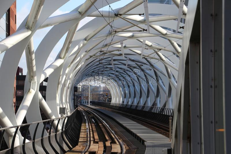 Beatrixkwartier tram station also known as the Netkous for HTM randstadrail in Den Haag the Netherlands. Beatrixkwartier tram station also known as the Netkous stock photography