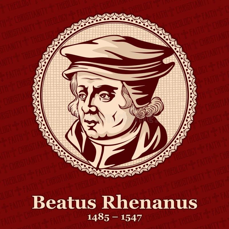 Beatus Rhenanus 1485 –1547是德国人道主义者、宗教改革者、古典学者和书籍收藏家 库存例证