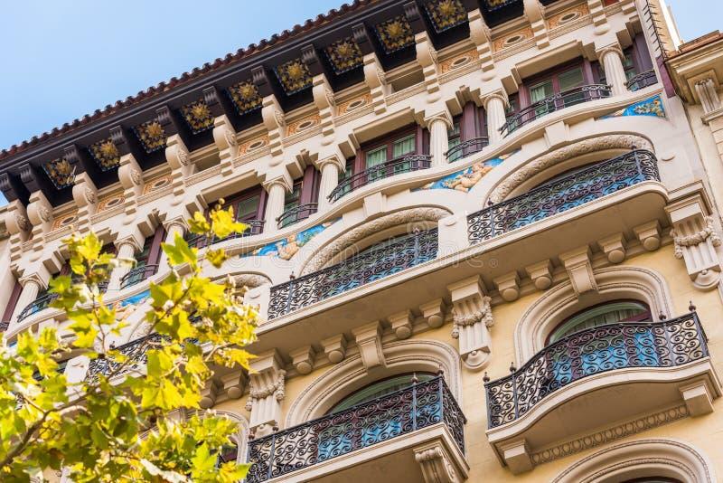 Beau bâtiment au centre de la ville, Barcelone, Espagne Plan rapproché images stock