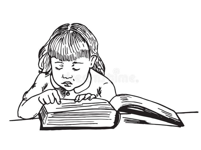 Beau bébé lisant le grand livre illustration libre de droits