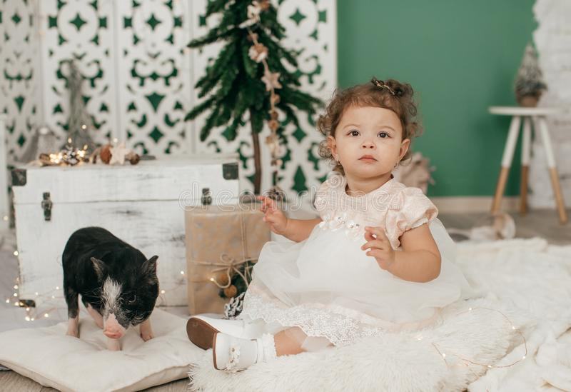 Beau bébé près d'un arbre de Noël avec des cadeaux avec photos stock