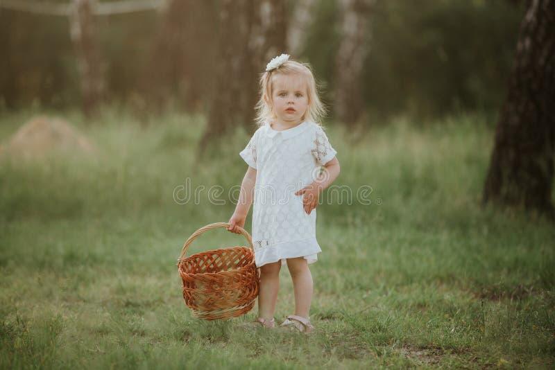 Beau b?b? marchant dans un jardin ensoleill? avec un panier peu de fille dans une robe blanche avec un panier en parc photo stock