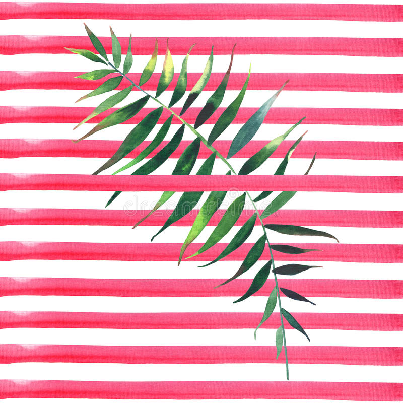 Beau beau modèle de fines herbes floral merveilleux mignon tropical vert abstrait d'été d'Hawaï de paumes sur les lignes rouges w illustration de vecteur