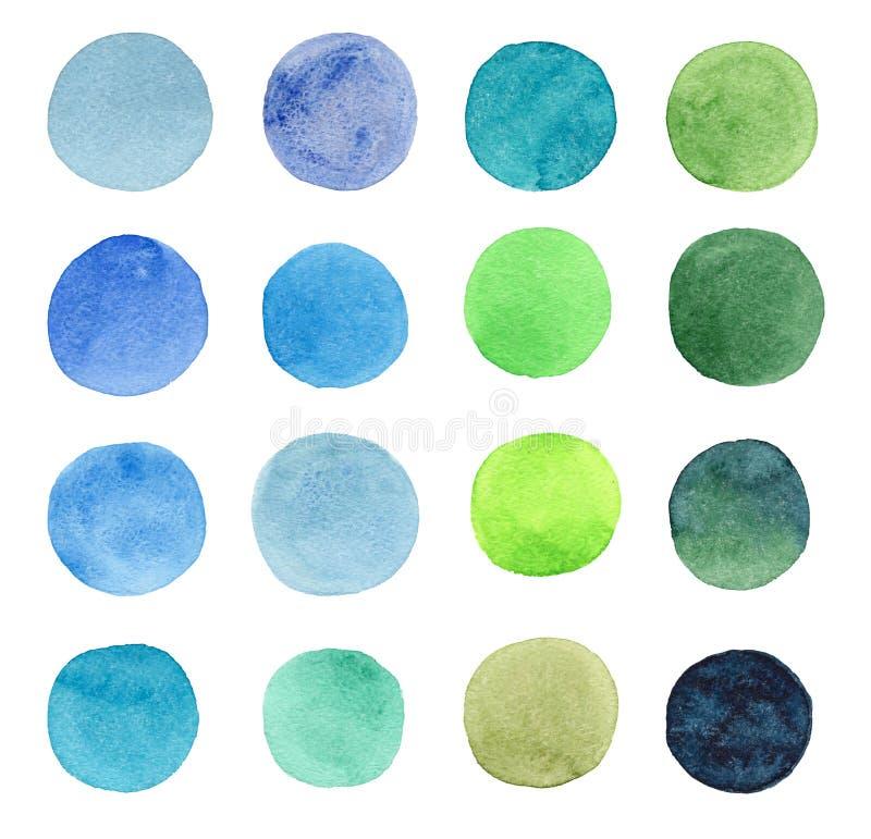 Beau bleu lumineux transparent merveilleux tendre artistique abstrait, vert, de fines herbes, marine, indigo, turquoise, cercles  illustration stock