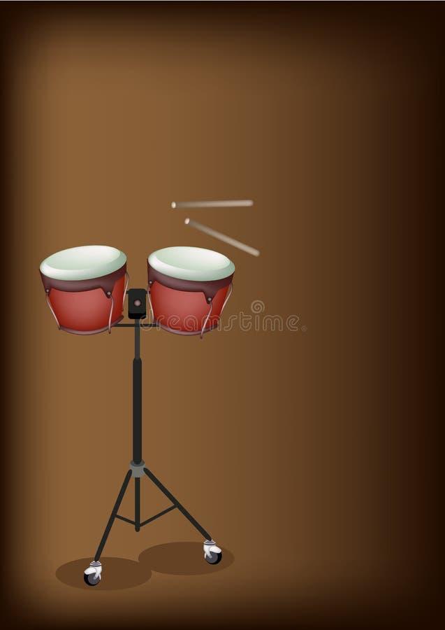 Beau bongo sur le support avec Brown foncé Backgroun illustration stock