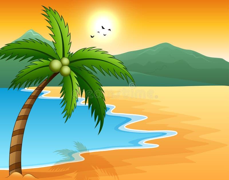 Beau bord de la mer de paysage marin avec la montagne et le coucher du soleil illustration libre de droits