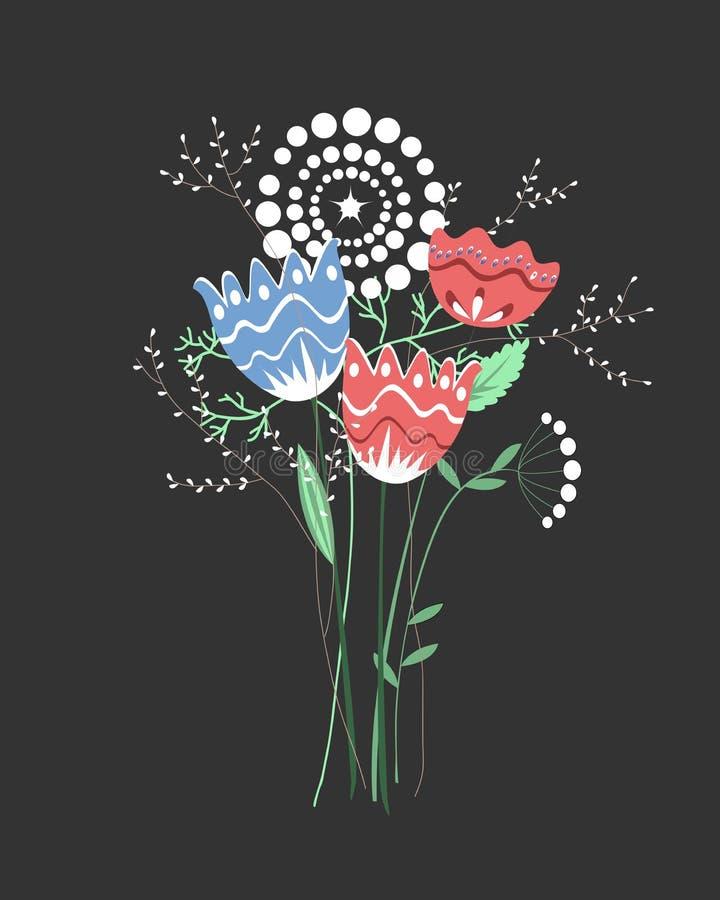 Beau bouquet d'imagination avec les fleurs tirées par la main, usines, branches Illustration colorée lumineuse de vecteur illustration de vecteur