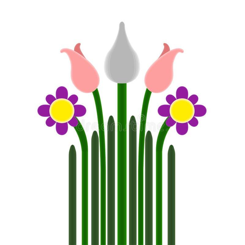 Beau bouquet d'isolement de fleurs avec l'image de tige illustration stock