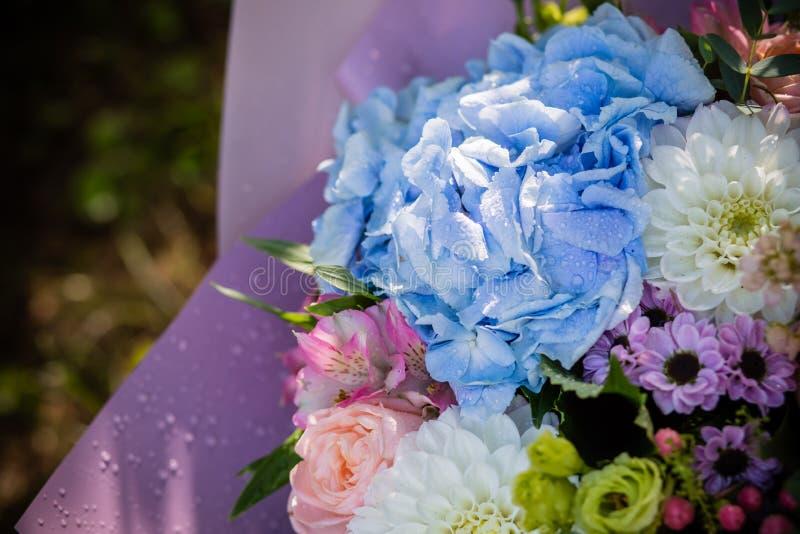 Beau bouquet de floraison de fleur d'hortensia frais, roses, eustoma, mattiola, fleurs dans des couleurs bleues, de roses et blan image stock