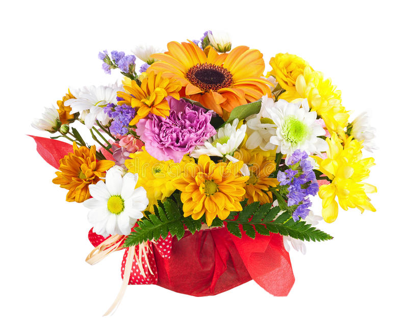 Beau bouquet de gerbera, d'oeillets et d'autres fleurs image stock