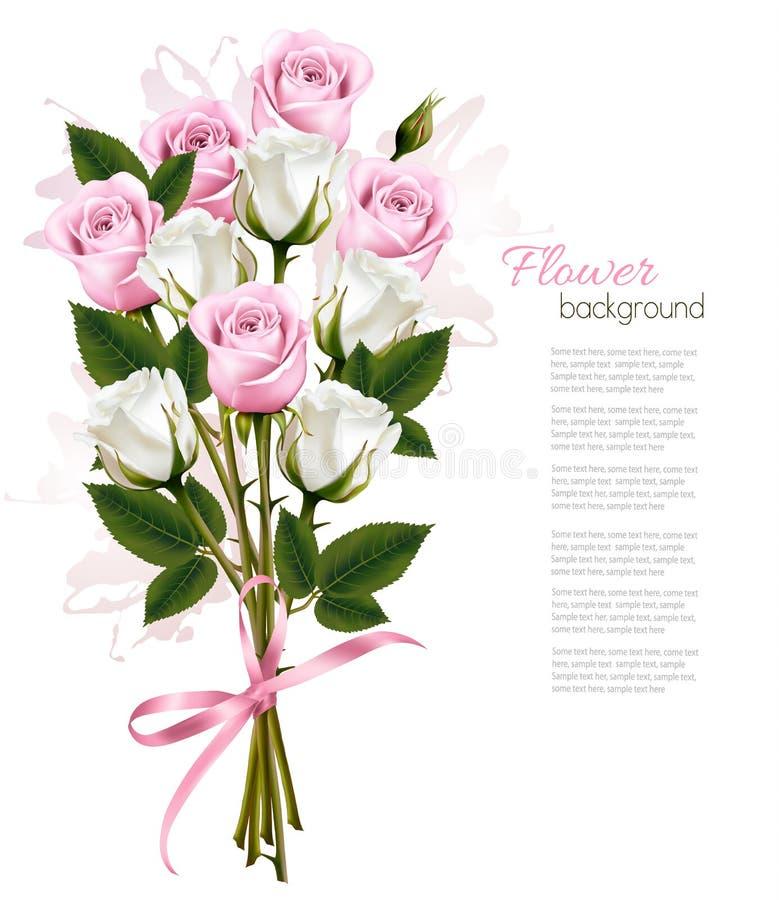 Beau bouquet des roses roses et blanches illustration stock