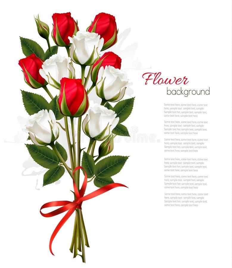 Beau bouquet des roses rouges et blanches illustration stock