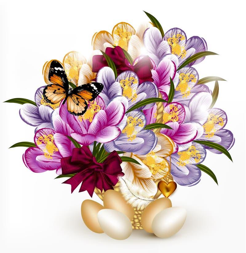 Beau bouquet r aliste de vecteur des fleurs avec des oeufs for Beau bouquet de fleurs