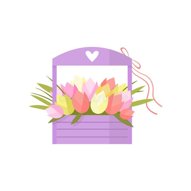 Beau bouquet rose de tulipe de fleurs de ressort dans la bo?te en bois avec le coeur d?cor? par poign?e au-dessus du blanc illustration de vecteur