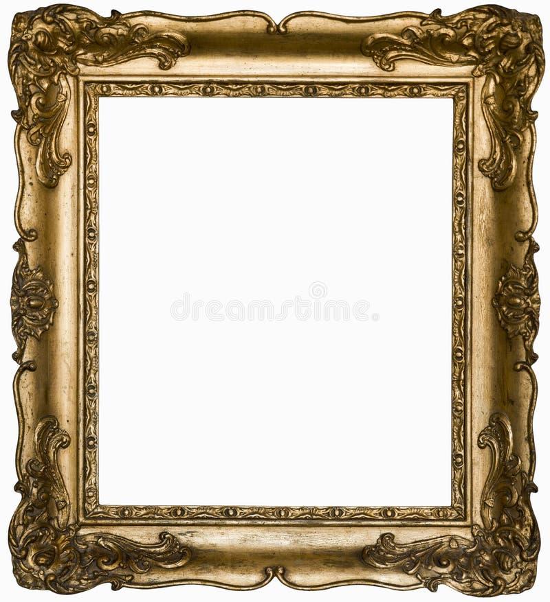Beau cadre rectangulaire argenté de cru avec un ornement d'isolement sur le blanc image stock