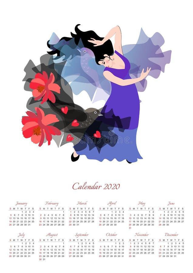 Beau calendrier pour 2020 année avec illustration avec une fille dans une longue robe lilas dansant flamenco avec un châle noir illustration stock