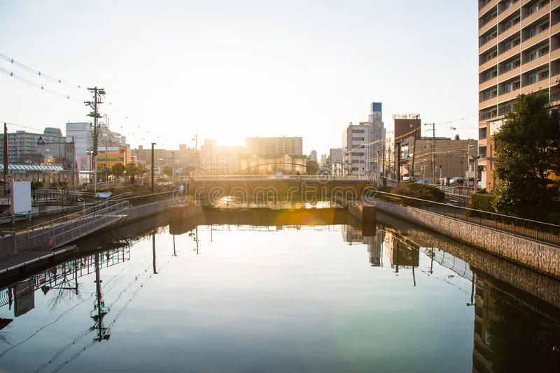 Beau canal au Japon photo stock