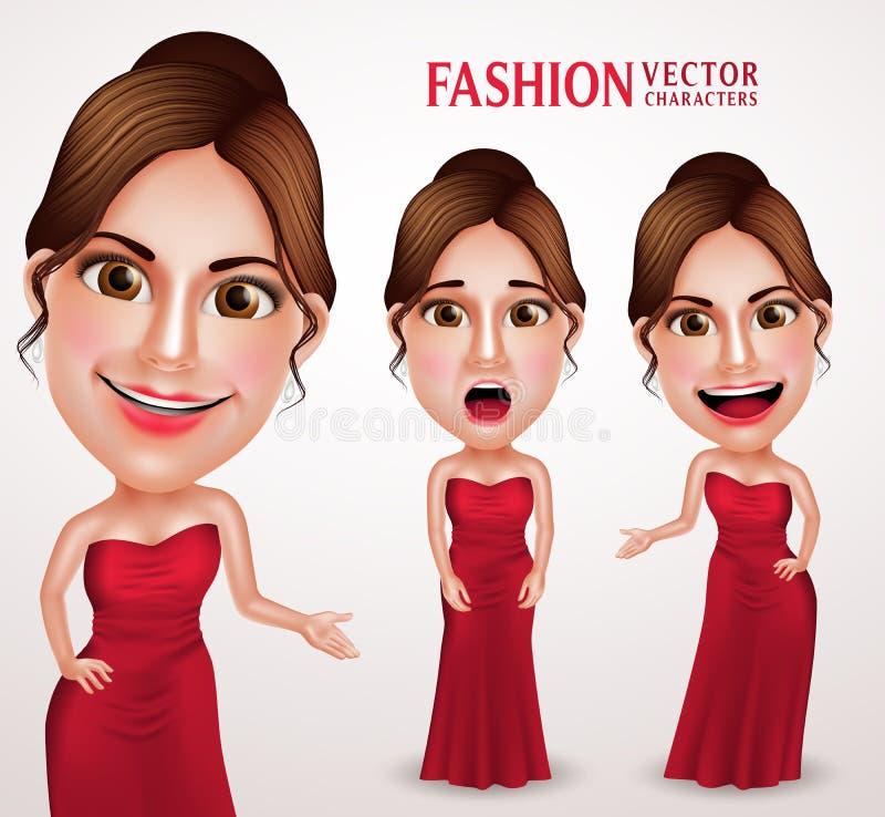 Beau caractère de vecteur de femme portant la longue robe rouge de robe illustration stock