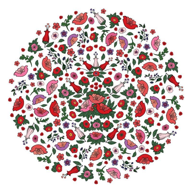 Beau cercle floral rempli de rose de d?coupe et pavots et tulipes rouges sur le fond transparent illustration de vecteur