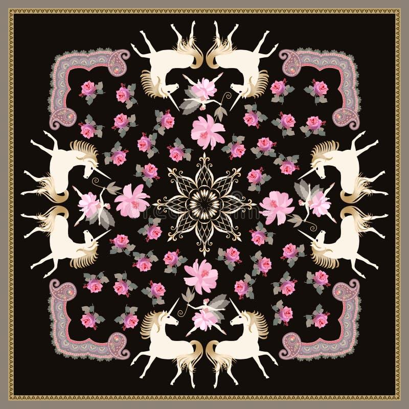 Beau châle avec les licornes blanches et la ballerine féerique, cadre ornemental, mandala d'or, fleurs roses de jardin sur le fon illustration de vecteur