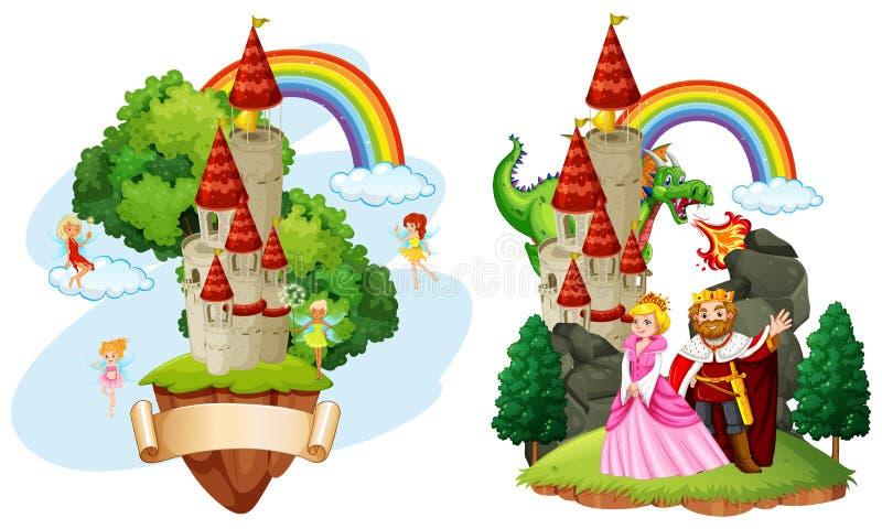 Beau château de conte de fées illustration de vecteur