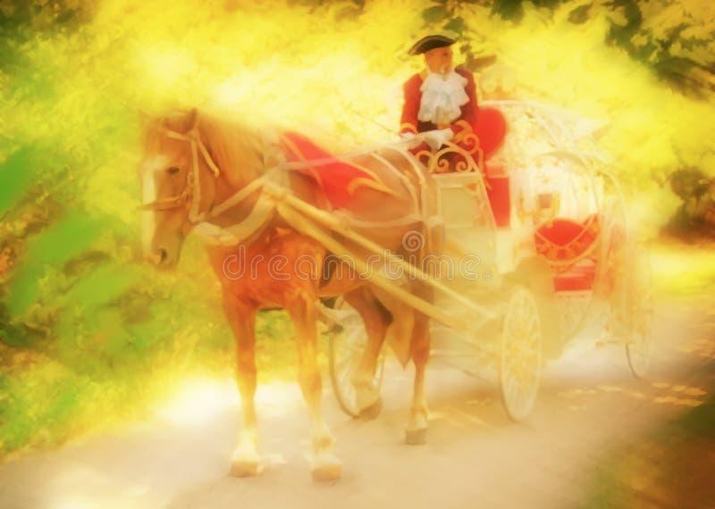 Beau chariot avec le cheval et un cocher dans le costume médiéval illustration de vecteur