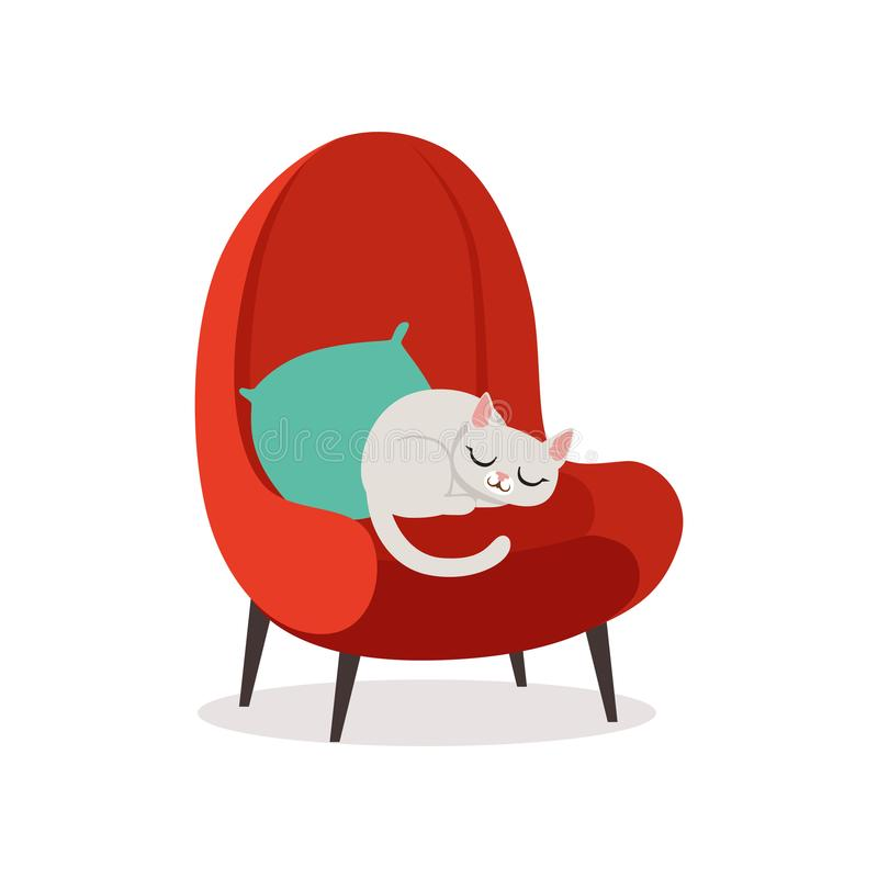Beau chat blanc dormant sur un fauteuil rouge, illustration de repos de vecteur de bande dessinée d'animal familier à la maison illustration de vecteur