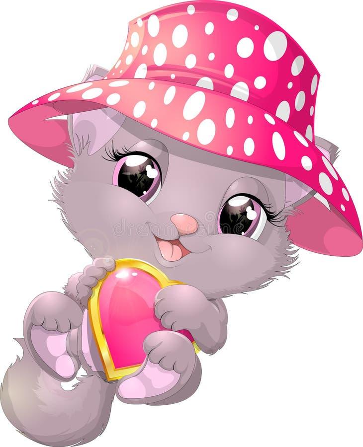 Beau chaton gris avec le coeur illustration stock