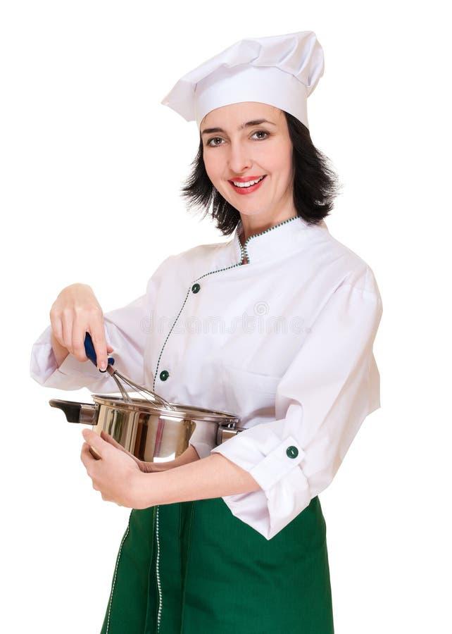 Beau chef de femme avec la cuisine images libres de droits