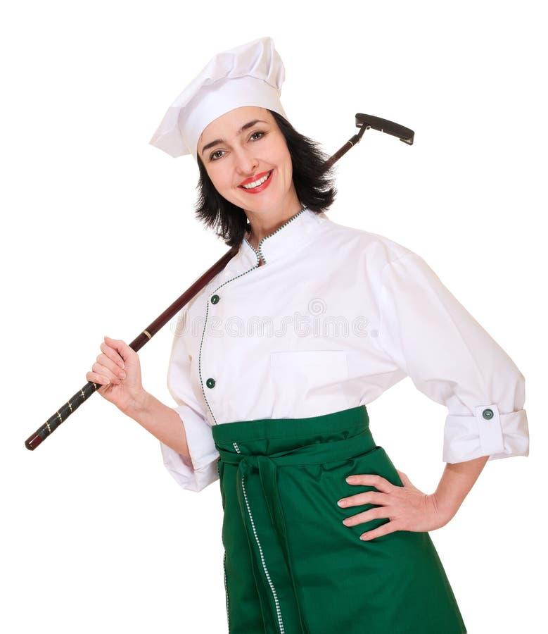 Beau chef de femme dans l'uniforme photos libres de droits