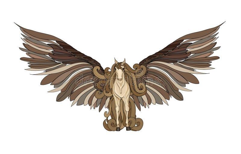 Beau cheval avec la crinière et les ailes pegasus Illustration de vecteur illustration stock