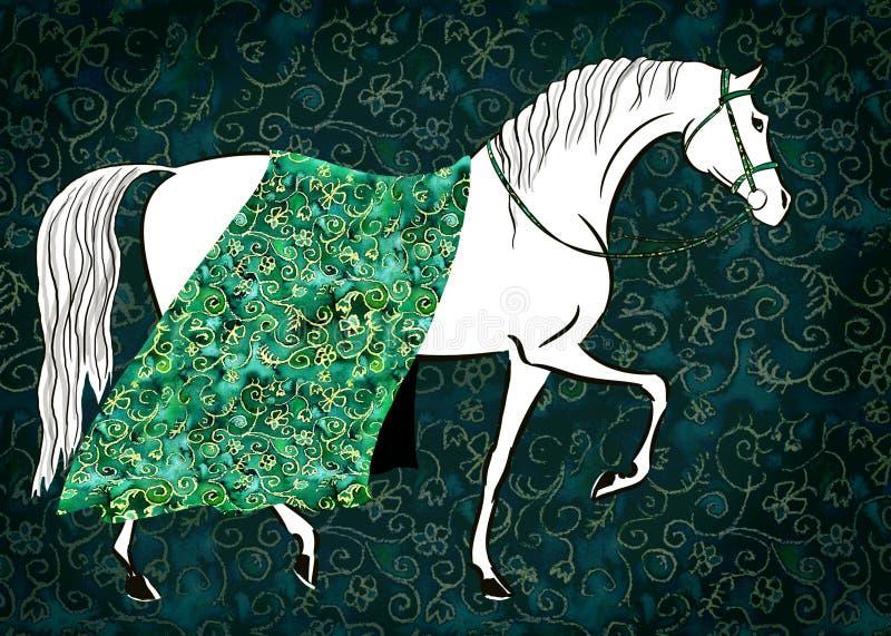 Beau cheval féerique blanc avec la couverture florale de brocard de modèle de tissu luxueux d'or illustration libre de droits