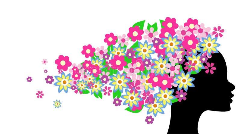 beau cheveu de fille de fleurs illustration libre de droits