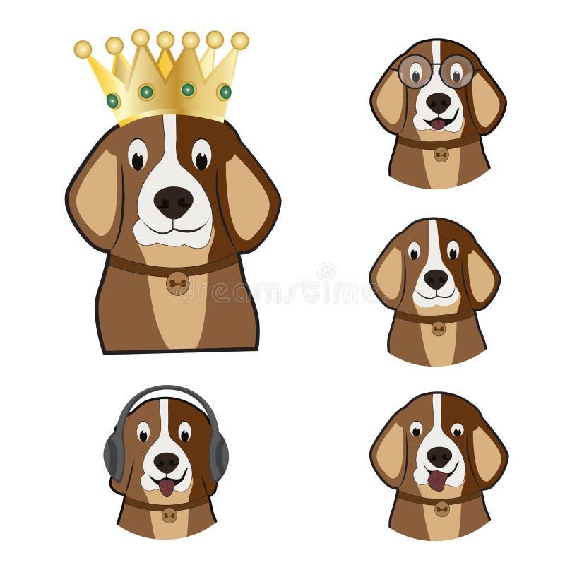 Beau chien drôle kiddish heureux avec la couronne illustration stock