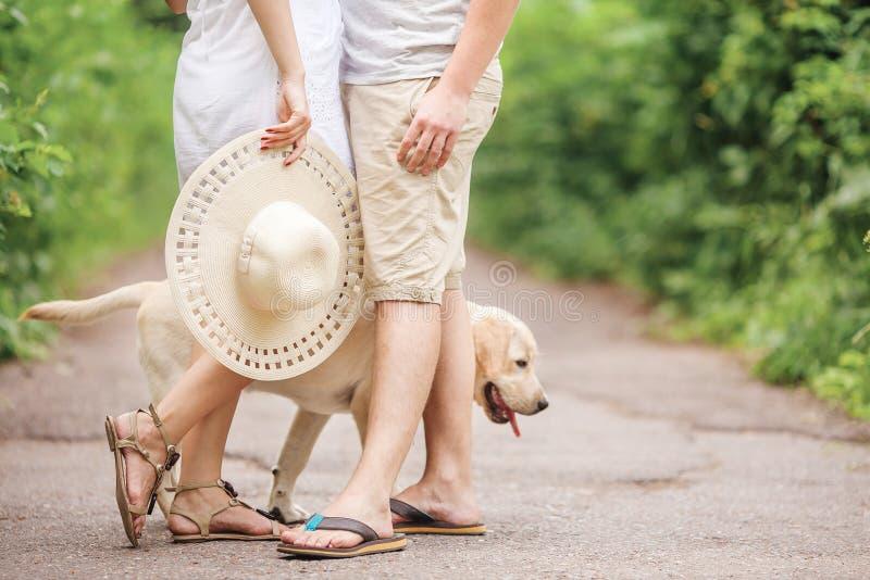 Beau chiot Labrador près des couples l'élément d'une unité familiale heureuse photos stock