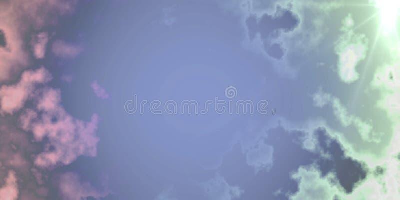 Beau ciel avec les nuages et le fond de fond d'effet de la lumière du soleil et la conception générés par ordinateur de papier pe illustration de vecteur