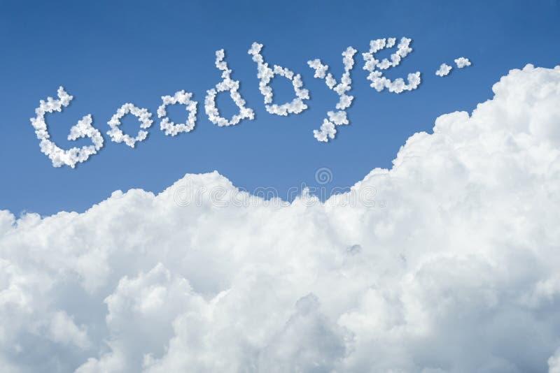 Beau ciel bleu et nuage blanc Jour ensoleillé cloudscape fermez-vous vers le haut du nuage texte au revoir illustration de vecteur